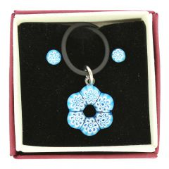 Murano Glass Millefiori Necklace and Earrings Set - Aqua Blue