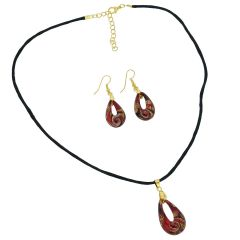 Gemma Murano Glass Necklace and Earrings Set - Red