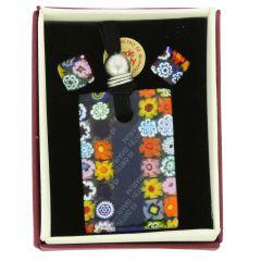 Murano Glass Millefiori Jewelry Set - Blue Stripe