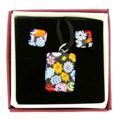 Murano Glass Millefiori Necklace and Earrings Set - Rectangular