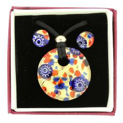 Venetian Reflections Round Jewelry Set - Blue Red