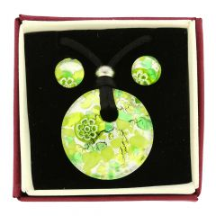 Venetian Reflections Round Necklace and Earrings Set - Green Silver