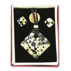 Venetian Reflections Necklace and Earrings Set - Black Gold