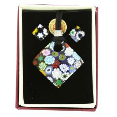 Murano Glass Millefiori Jewelry Set - Diamond