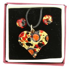 Venetian Reflections Heart Necklace and Earrings Set - Black Red