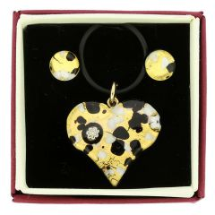Venetian Reflections Heart Necklace and Earrings Set - Black Gold