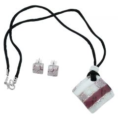 Murano Glass Millefiori Necklace and Earrings Set - Red, White and Black