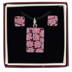 Murano Glass Millefiori Necklace and Earrings Set - Pink