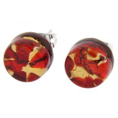 Venetian Reflections Round Stud Earrings - Red Gold