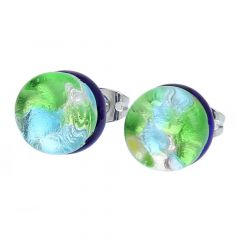 Venetian Reflections Round Stud Earrings - Silver Meadow