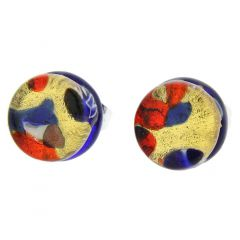 Venetian Reflections Round Stud Earrings - Blue Red