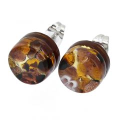 Venetian Reflections Round Stud Earrings - Topaz Gold