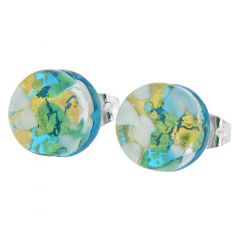 Venetian Reflections Round Stud Earrings - Aqua Gold