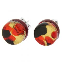 Venetian Reflections Round Stud Earrings - Black Red