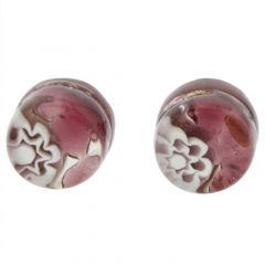 Venetian Reflections Round Stud Earrings - Purple Silver