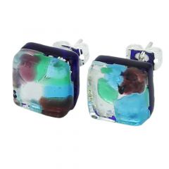 Venetian Reflections Square Stud Earrings - Silver Meadow