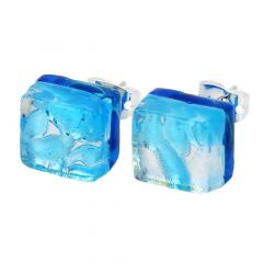 Venetian Reflections Square Stud Earrings - Aqua Silver