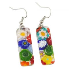 Millefiori Rectangular Earrings - Multicolor