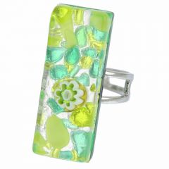 Venetian Reflections Rectangular Ring - Green Silver