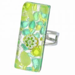 Venetian Reflections Rectangular Ring - Green Silver