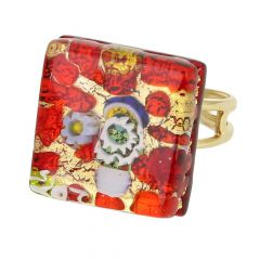 Venetian Reflections Square Adjustable Ring - Red Gold
