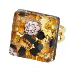 Venetian Reflections Square Adjustable Ring - Topaz Gold