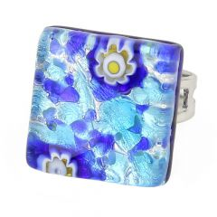 Venetian Reflections Square Adjustable Ring - Aqua Blue