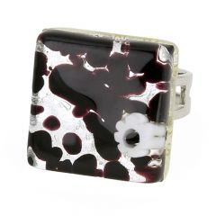 Venetian Reflections Square Adjustable Ring - Dark Purple Silver