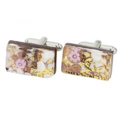 Venetian Classic Rectangular Cufflinks - Purple Gold