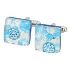 Venetian Classic Square Cufflinks - Aqua Silver