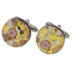 Venetian Classic Round Cufflinks - Purple Gold
