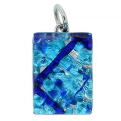Venetian Reflections Rectangular Pendant - Aqua Blue