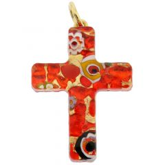 Venetian Reflections Cross Pendant - Red Gold