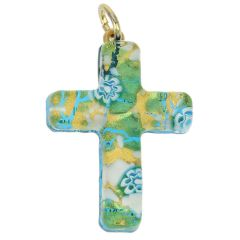 Venetian Reflections Cross Pendant - Aqua Gold