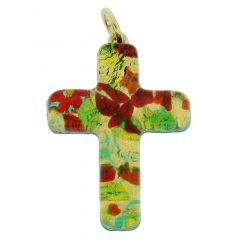 Venetian Reflections Cross Pendant - Red Green