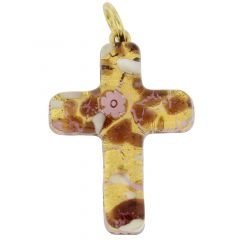Venetian Reflections Cross Pendant - Purple Gold