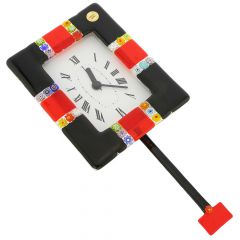 Murano Glass Wall Clock Tiepolo Black
