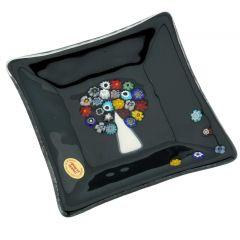 Murano Glass Square Decorative Plate - Tree Of Life