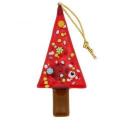 Murano Glass Christmas Tree Ornament - Red