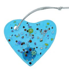 Murano Glass Heart Christmas Ornament - Aqua