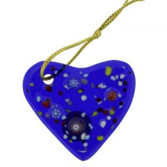 Murano Glass Heart Christmas Ornament - Blue
