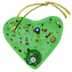 Murano Glass Heart Christmas Ornament - Green