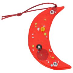 Murano Glass Moon Christmas Ornament - Red