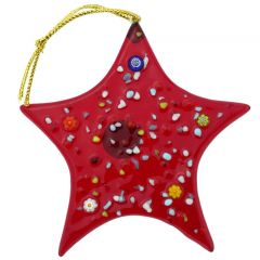 Murano Glass Star Christmas Ornament - Red