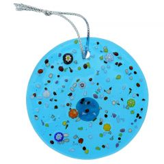 Murano Glass Circle Christmas Ornament - Aqua