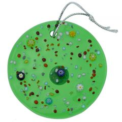 Murano Glass Circle Christmas Ornament - Green