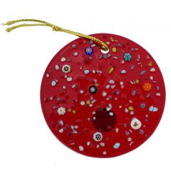 Murano Glass Circle Christmas Ornament - Red
