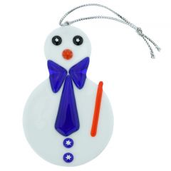 Murano Glass Snowman Christmas Ornament - Blue
