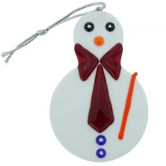 Murano Glass Snowman Christmas Ornament - Red