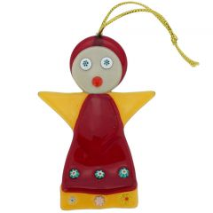 Murano Glass Angel Christmas Ornament - Red